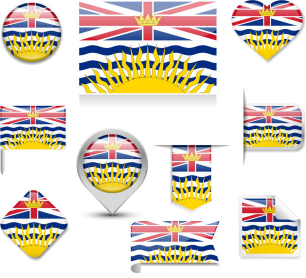 British Columbia Flag Collection British columbia flag in ten different shapes. british columbia stock illustrations