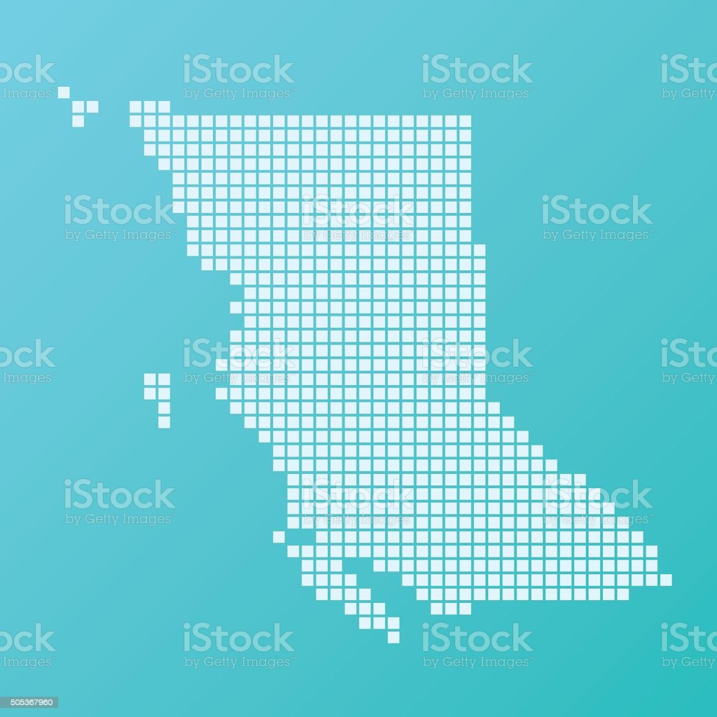 British Columbia Map Basic Square Pattern Turquoise vector art illustration