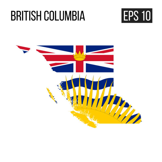 British columbia map border with flag vector EPS10 British columbia map border with flag vector EPS10 british columbia stock illustrations