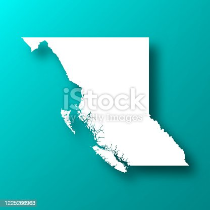 istock British Columbia map on Blue Green background with shadow 1225266963
