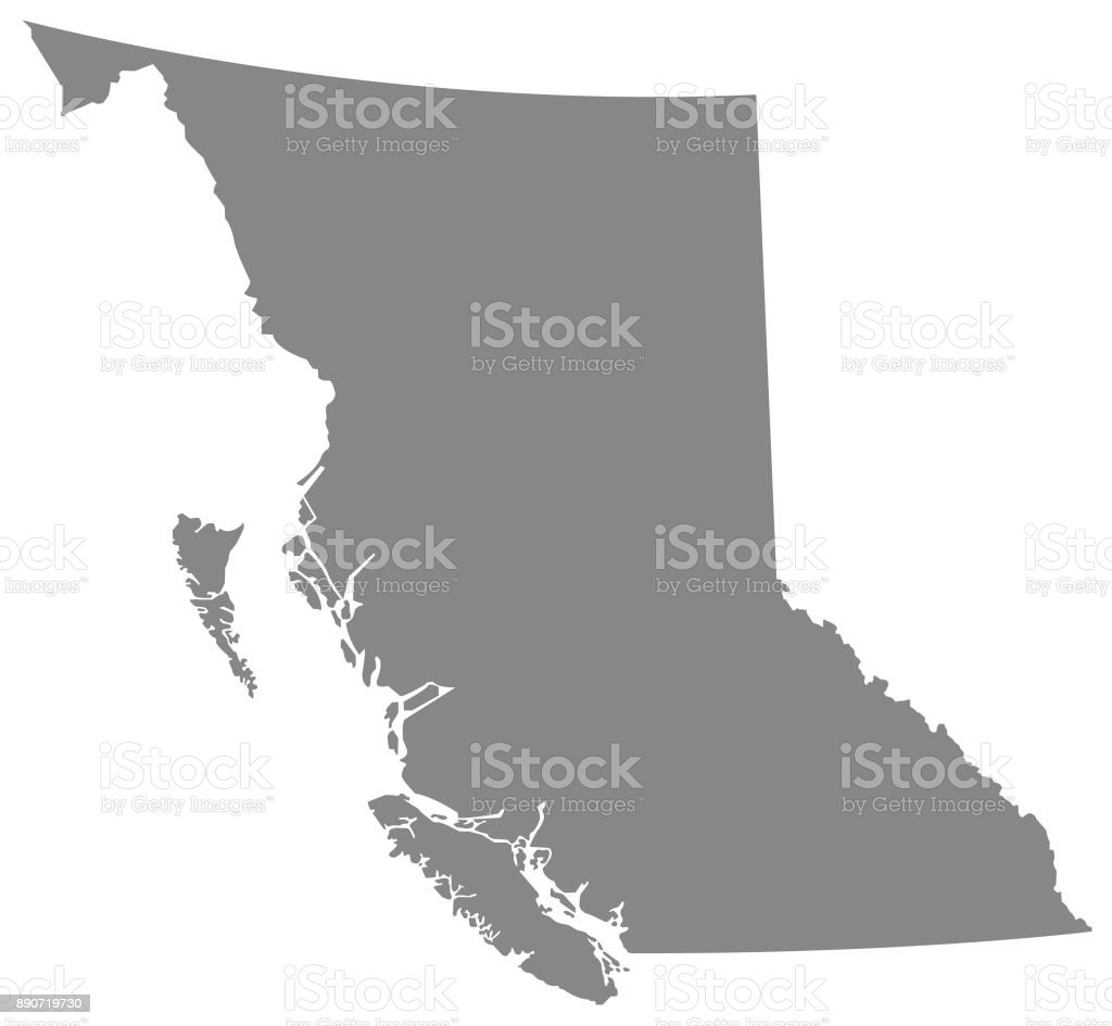 British Columbia map vector art illustration
