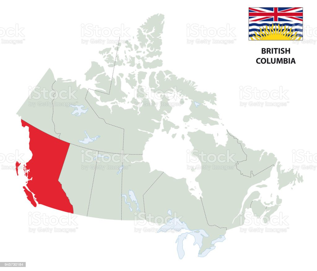 British Columbia Outline Map With Flag Stock Illustration