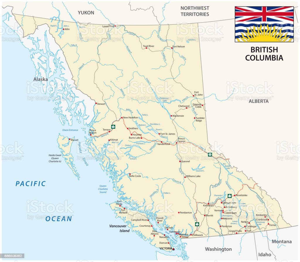 british columbia road map with flag vector art illustration