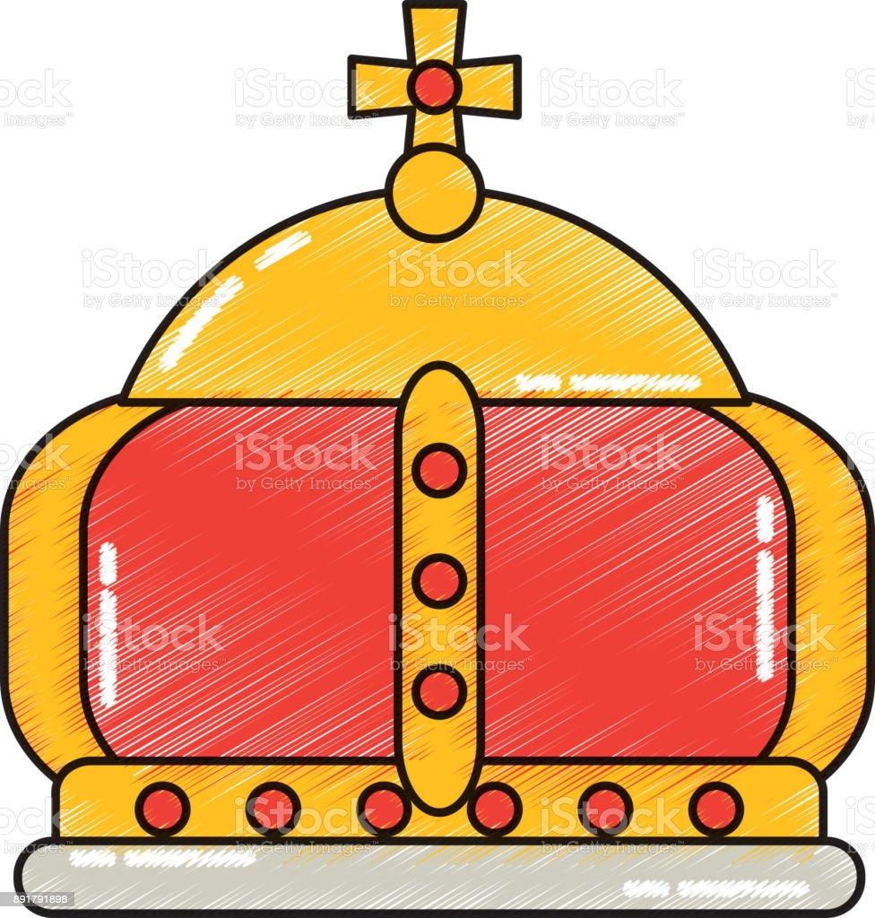 british crown of queen monarchy classic majestic vector art illustration