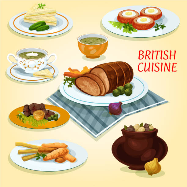 british cuisine traditional dishes for lunch icon - roastbeef stock-grafiken, -clipart, -cartoons und -symbole