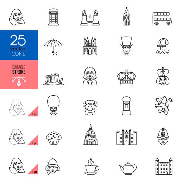 british england culture line icons. editable stroke. - культура великобритании stock illustrations