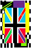 British flag backgorund vivid colors pop art with mosaic