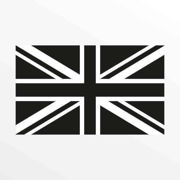 영국 국기 흑인과 백인 아이콘입니다. 영국과 영국 국가 상징. 벡터 일러스트입니다. - 영국 국기 stock illustrations