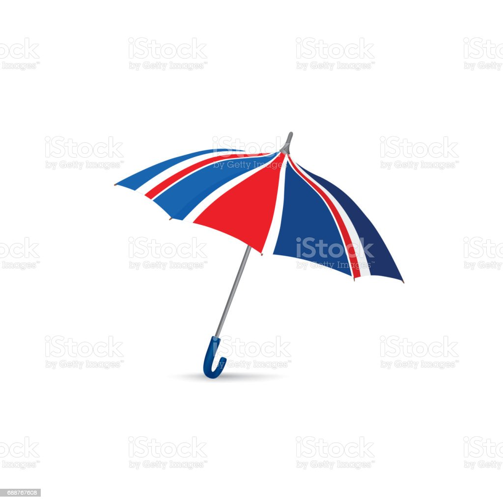 British flag colored umbrella. Season english fashion accessory. vector art illustration