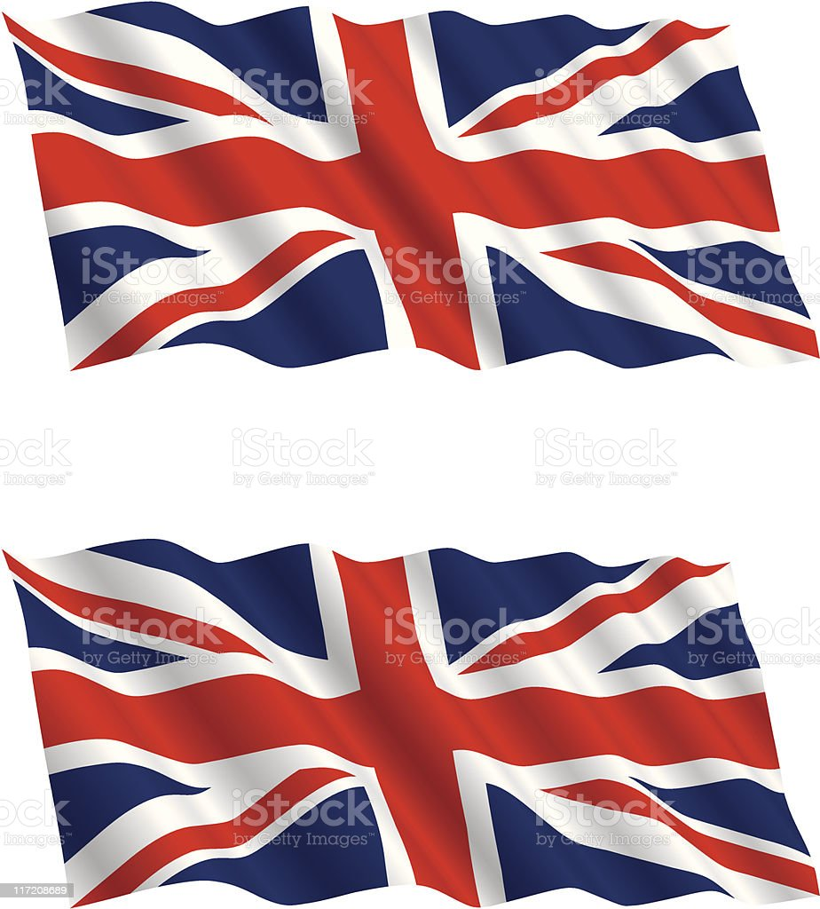 British Flag Flying in the Wind 2 vector art illustration