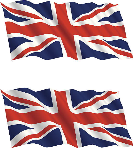 british flag flying in the wind 2 - union jack flag stock illustrations, clip art, cartoons, & icons