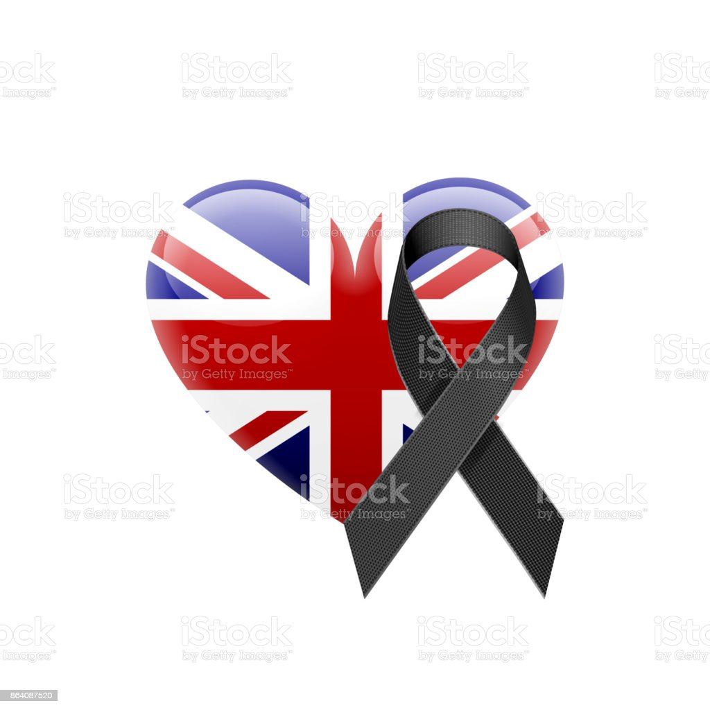 British Flag Heart Icon with Black Ribbon royalty-free british flag heart icon with black ribbon stock vector art & more images of art