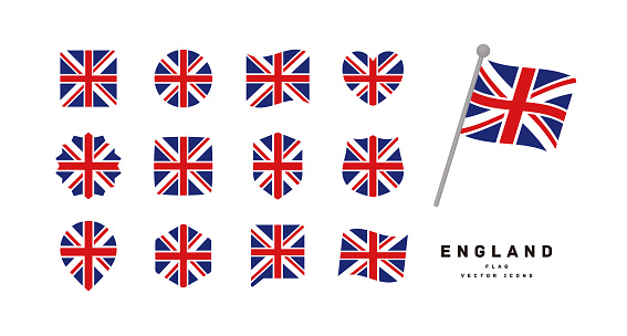 British flag icon set vector illustration
