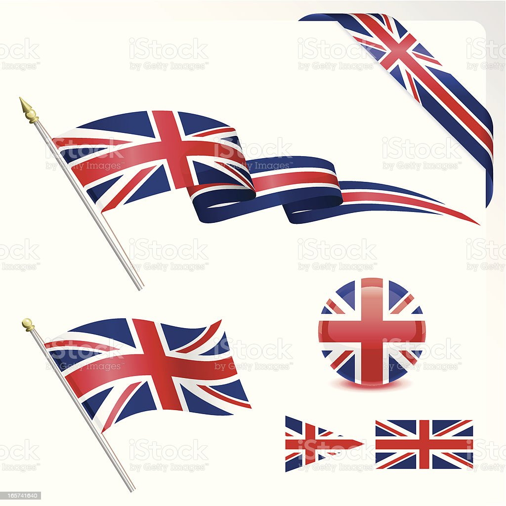 British Flag Set vector art illustration