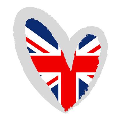 British flag. UK flag in a heart shape.