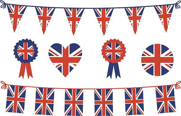 british flags and bunting - union jack flag stock illustrations, clip art, cartoons, & icons