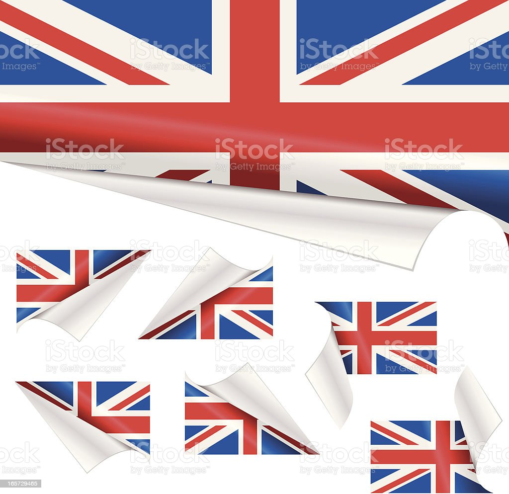 British Flags behind Curled Paper royalty-free stock vector art