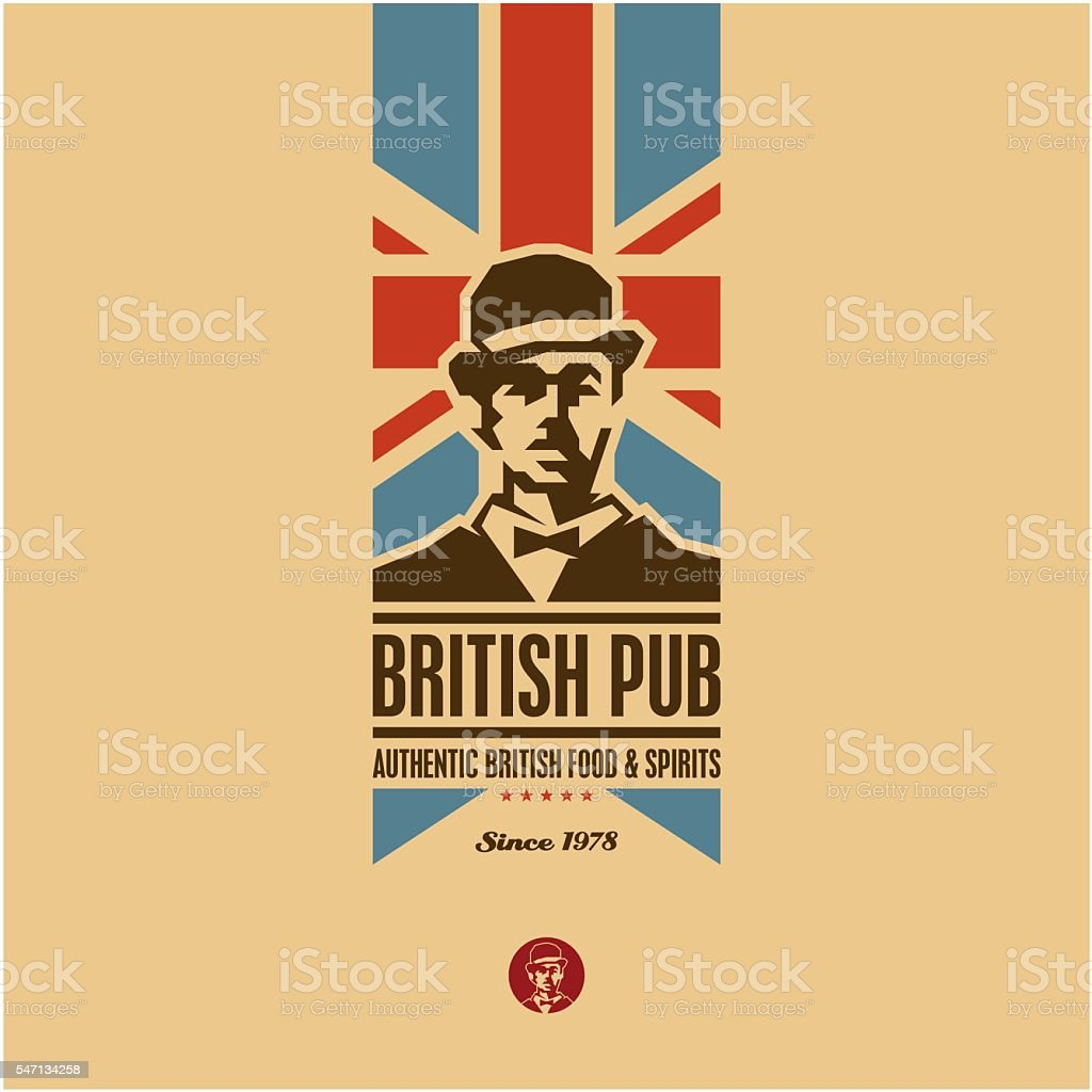 british food, british pub label vector art illustration