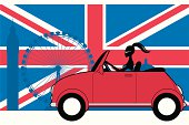 A cute girl in a mini style car with a union jack and London landmark background. All elements are separate for easy editing. Click below for more travel and vacation images