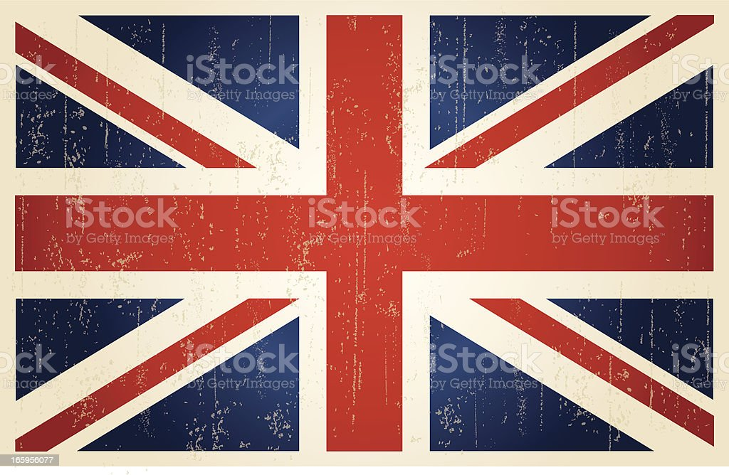 British grunge vintage flag vector art illustration