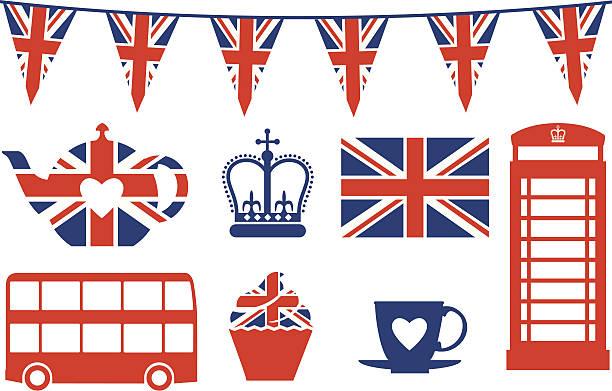 ilustraciones, imágenes clip art, dibujos animados e iconos de stock de british iconos de - bandera británica