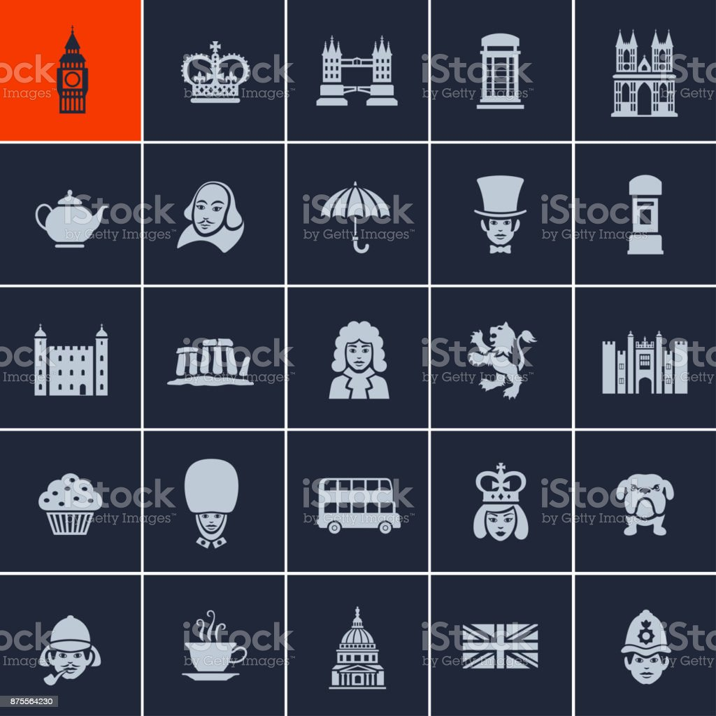 British Icons vector art illustration