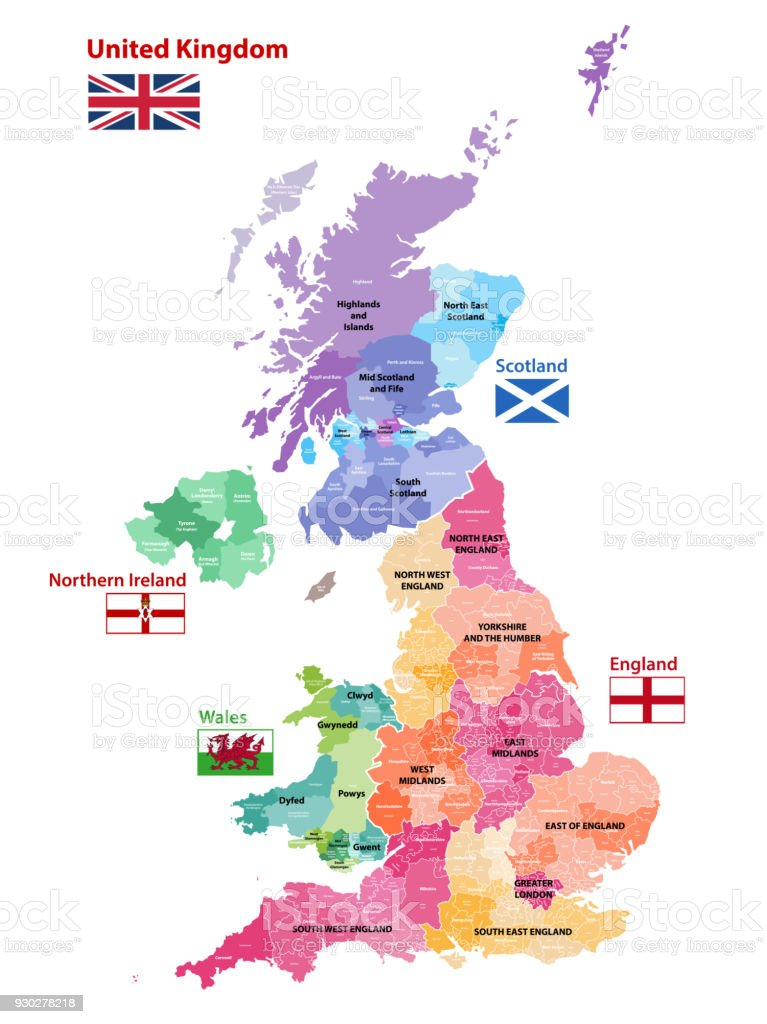 British Isles map colored by countries and regions vector art illustration