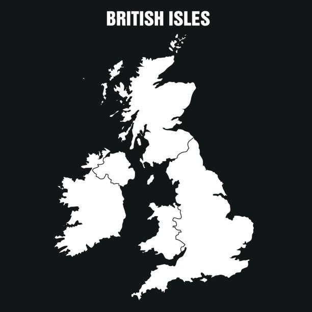 British Isles Map - Illustration Vector Illustration of the Map of British Isles in Black and White uk border stock illustrations