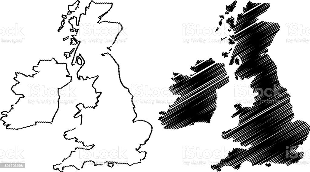 British Isles map vector vector art illustration