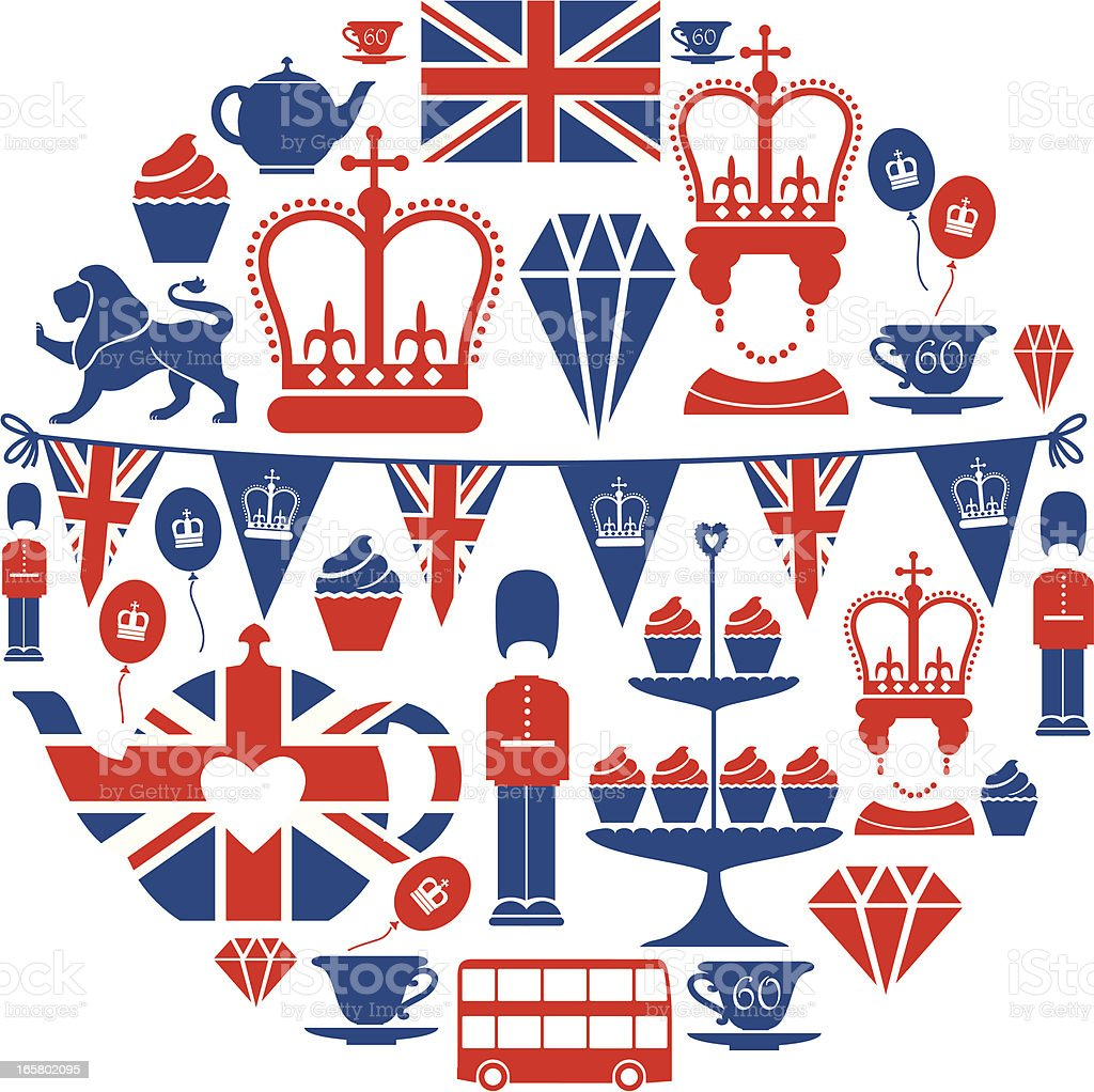 British Jubilee Icon Set vector art illustration