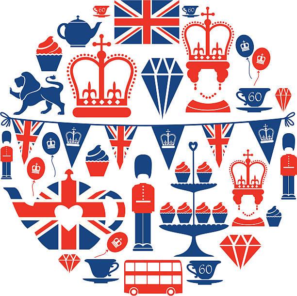 британский юбилей икона set - культура великобритании stock illustrations