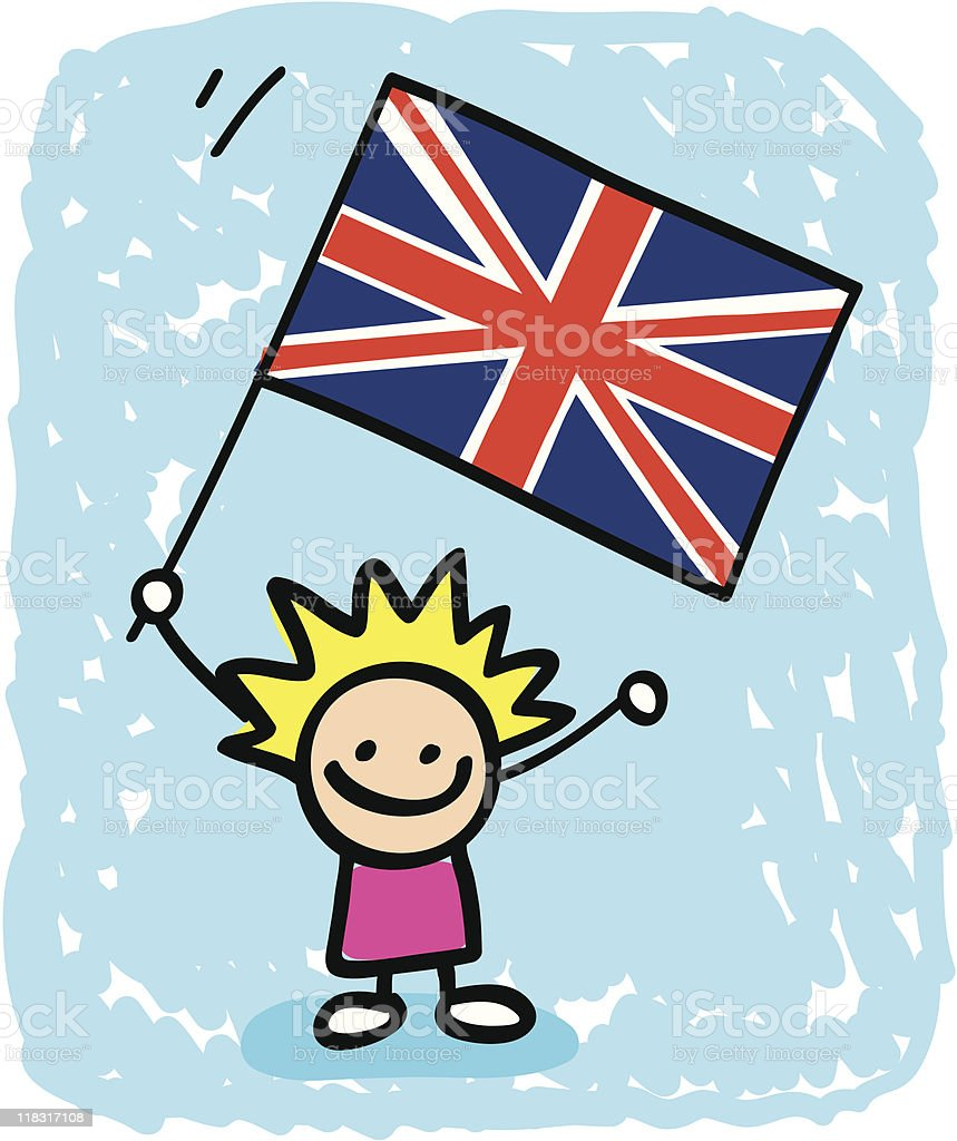 Ilustración de British Niño De Historieta Con La Bandera De Reino ...