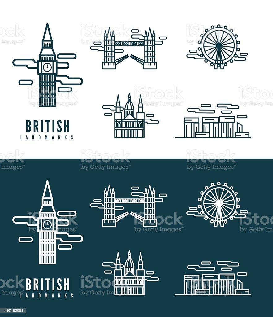 British Landmarks. vector art illustration