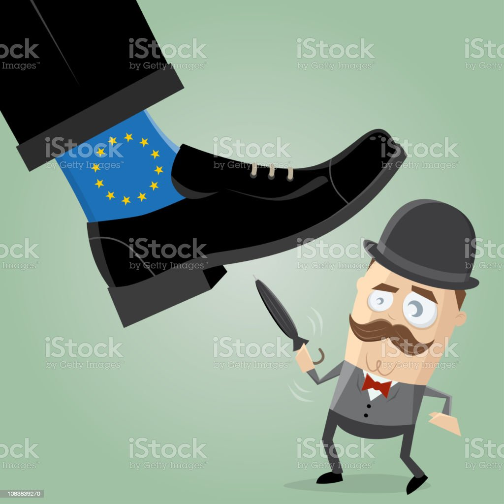 british man fighting against overpowering eu brexit illustration vector art illustration