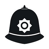 British police helmet icon, simple style