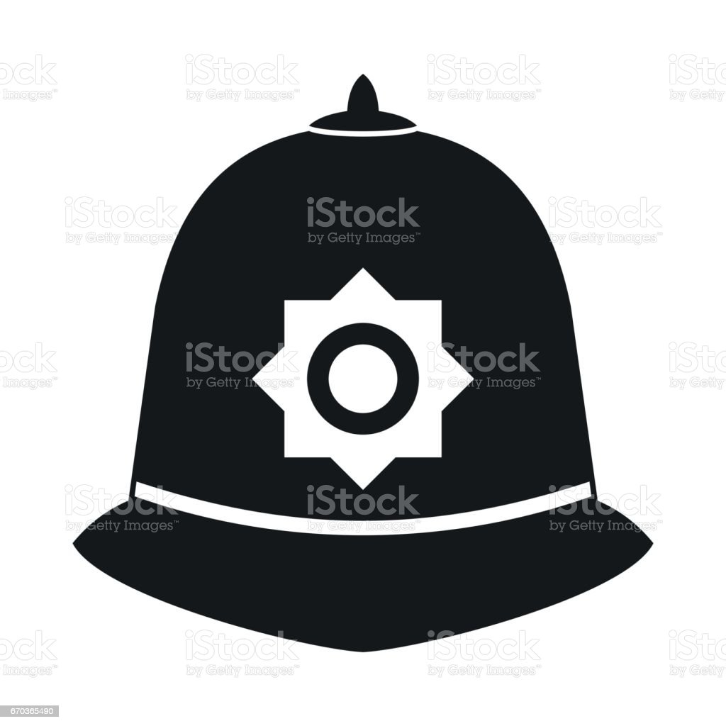 Icône de casque de la police britannique, style simple - Illustration vectorielle