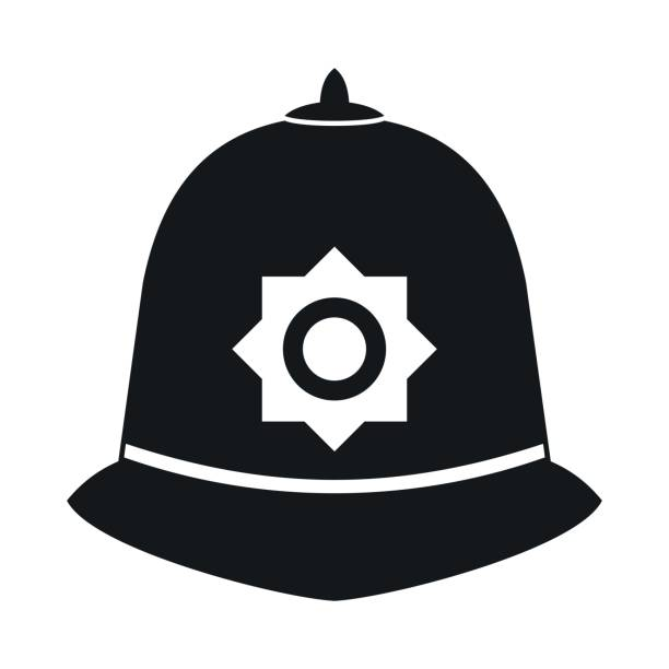 illustrazioni stock, clip art, cartoni animati e icone di tendenza di british police helmet icon, simple style - polizia