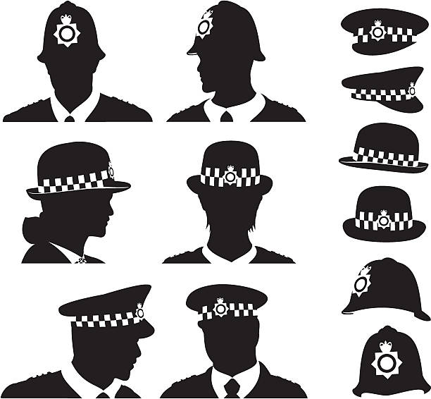British Police British police men and women silhouette set uniform cap stock illustrations