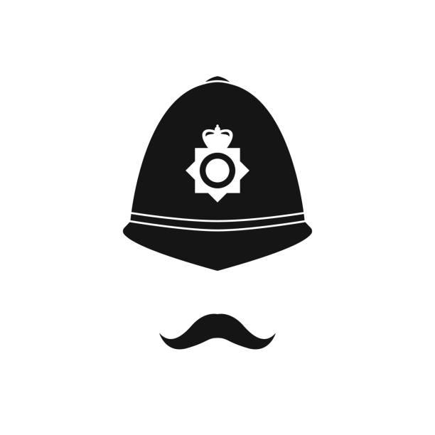 британский полицейский в шлеме. полицейский аватар. - культура великобритании stock illustrations