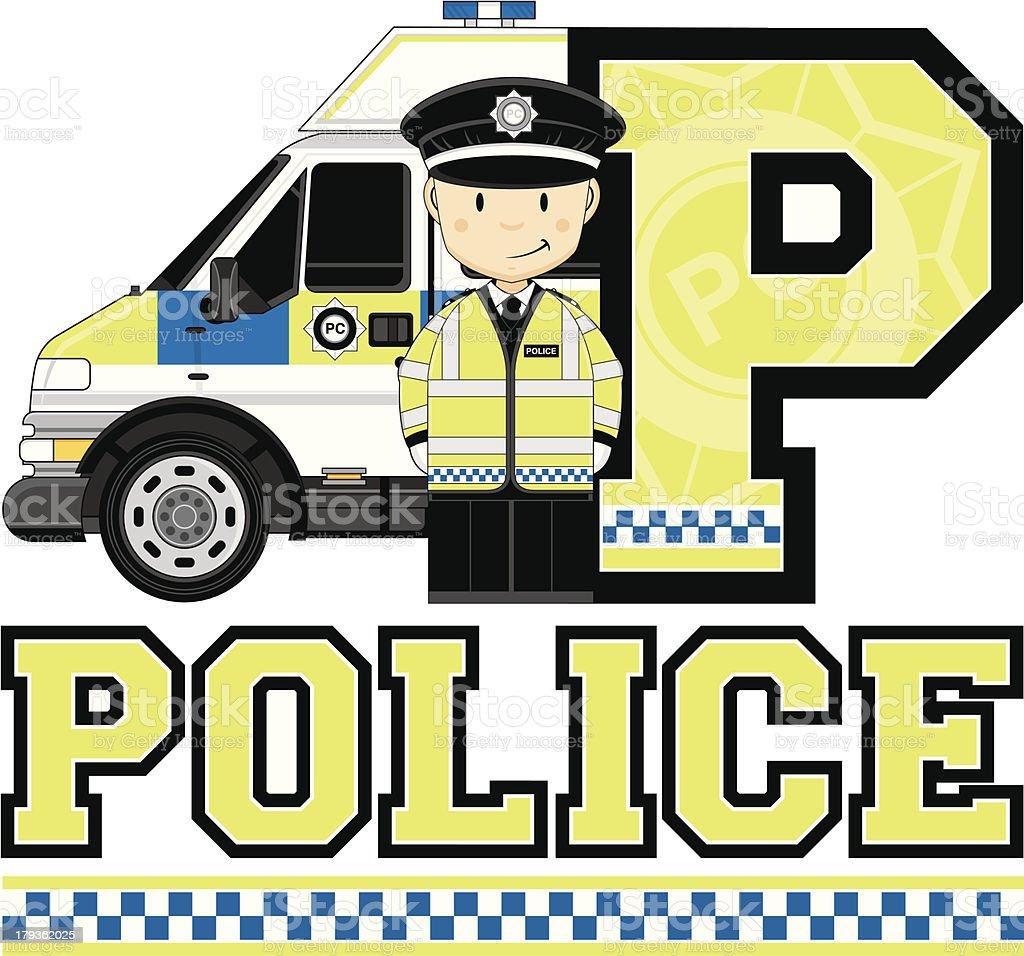 British Policeman & Van Letter P royalty-free british policeman van letter p stock vector art & more images of adult