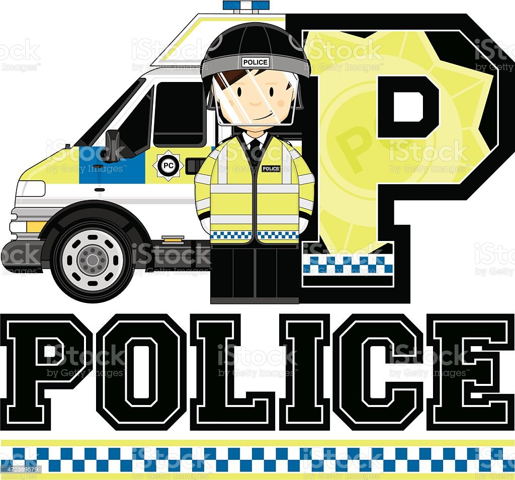 British Policeman & Van Letter P royalty-free british policeman van letter p stock vector art & more images of adult