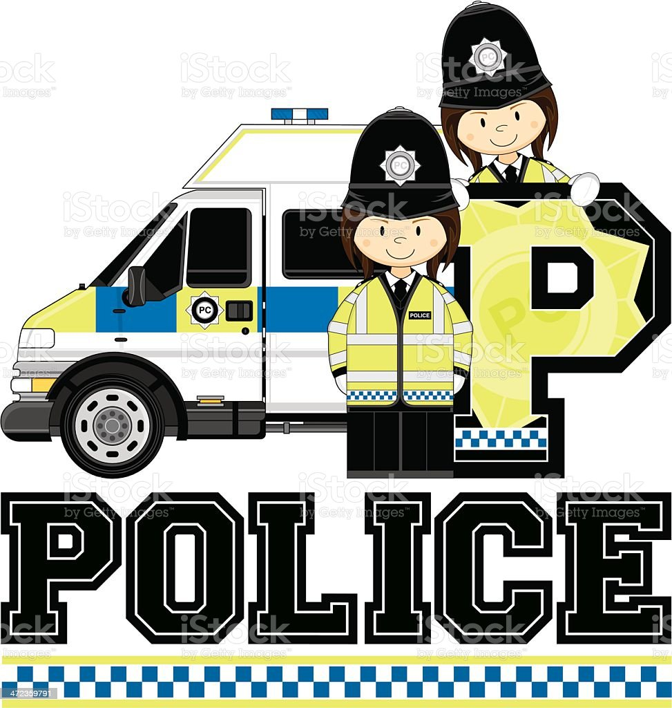 Cute British Policeman and Police Van Letter P Alphabet Learning...