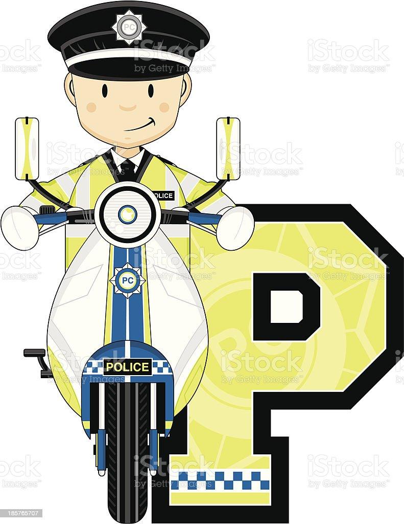 British Policemen on Motorbike Letter P royalty-free british policemen on motorbike letter p stock vector art & more images of alphabet