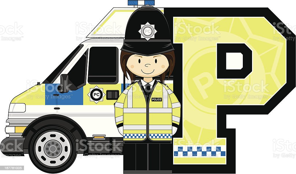 British Policewoman & Van Letter P royalty-free british policewoman van letter p stock vector art & more images of adult