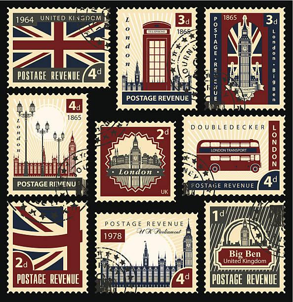 ilustraciones, imágenes clip art, dibujos animados e iconos de stock de british sellos estampillas - bandera británica