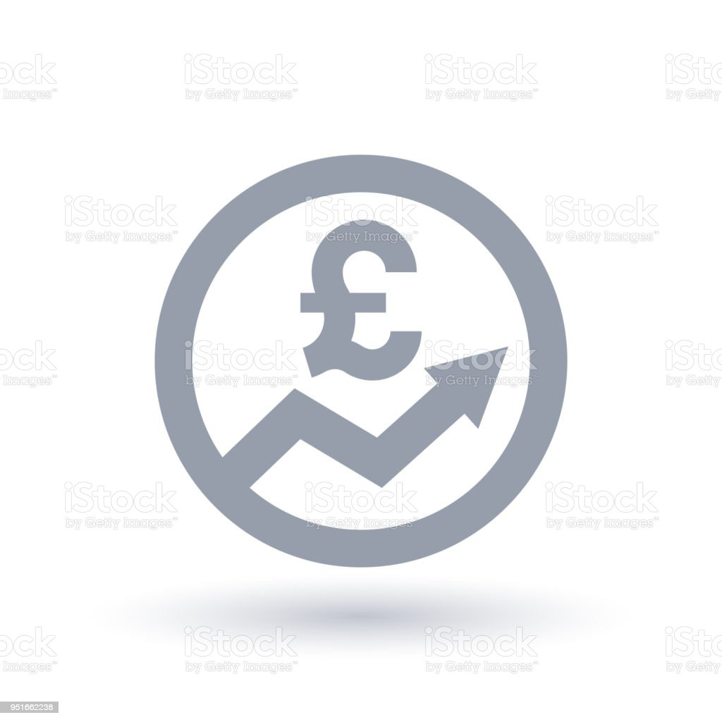 British Pound Arrow Icon Great Britain Currency Progress Symbol