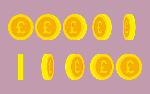 british pound coin rotating animation sprite sheet on plain background - британская валюта stock illustrations