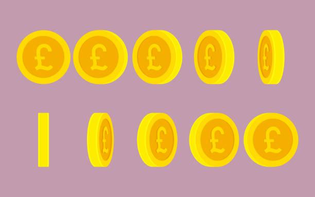 일반 배경에 영국 파운드 동전 회전 애니메이션 스프라이트 시트 - 영국 화폐 단위 stock illustrations