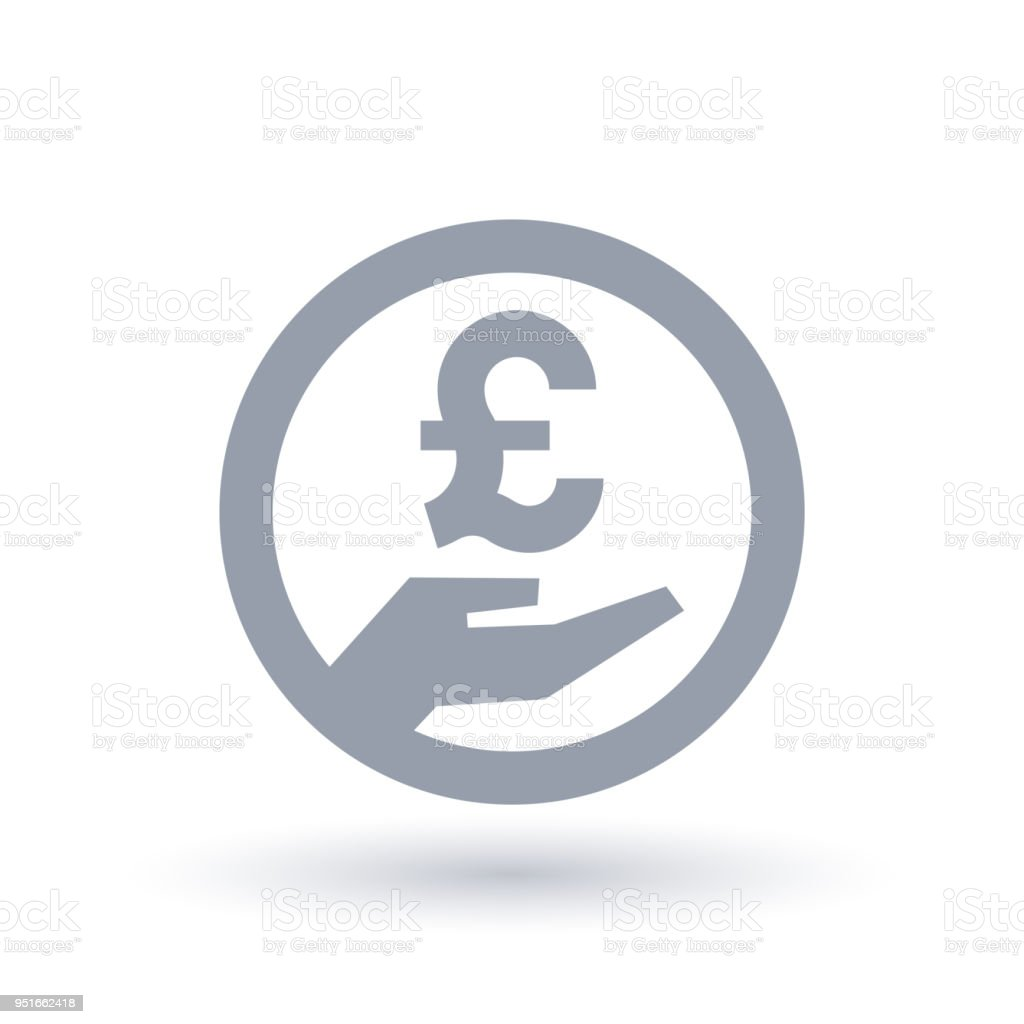 British Pound Hand Symbol Britain Currency Pay Icon Stock Vector Art