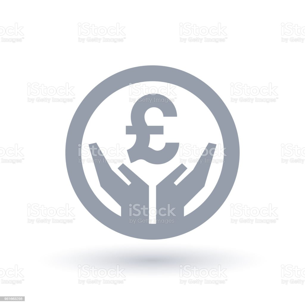 British Pound Hands Icon Money Success Symbol Stock Vector Art